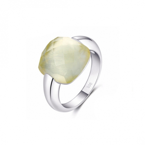 LLATO NUDO ™ Italy Inspirational Ring in Sterling Silver With Lemon Quartz