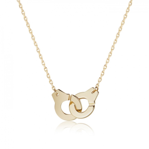 CARWENIYA® Necklace in 925 Sterling Silver Gold Plated  With Couples Handcuff Charm