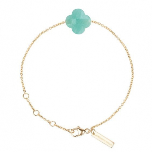 Blue Pixie ® Bracelet IN 925 Sterling Silver Gold Plated  With Trefle Charm Quartz 19 Colors Choose