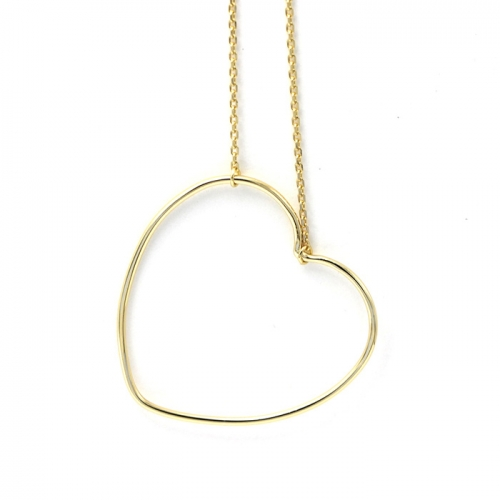 CARWENIYA® Necklace in 925 Sterling Silver Gold Plated With love heart  Charm
