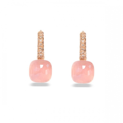 LLATO NUDO™ luxury fashion style cz earrings in rose gold with light pink quartz best gift for women